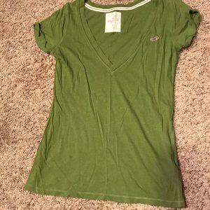 Hollister V-neck short sleeve tee, green, medium